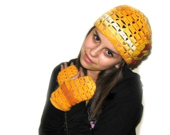 Crochet  Yellow Hat and Fingerless Gloves, Crochet Yellow Spring Accessory, Crochet Yellow Gloves, Yellow Wrist Warmers