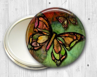 colorful butterfly pocket mirror,  original art hand mirror, mirror for purse, gift for her,  bridesmaid gift, stocking stuffer  MIR-314