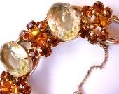 D&E citrine topaz and burnt orange rhinestone bracelet