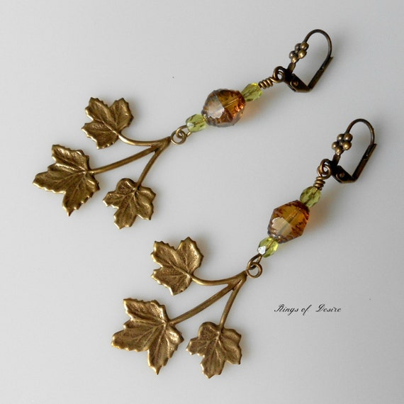 Earrings Bronze Maple Leaves with Amber Czech Glass and Peridot Green Swarovski Crystals