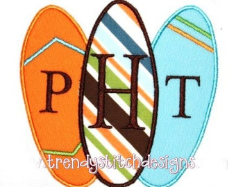 Simple Surfboards Applique Machine Embroidery Desgn INSTANT DOWNLOAD
