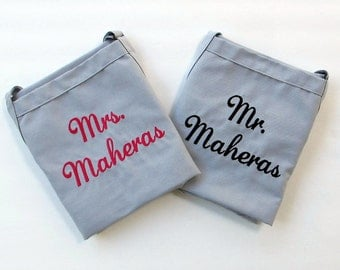 Mr and Mrs Aprons - Wedding Aprons - Cake Cutting Accessory- His and Hers Aprons - Wedding Bridal Shower Gift