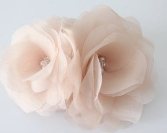 Double Silk Hair Flower, Bridal Hair Flower, Birdcage Fascinator, Blush Pink, White, Ivory, Off White, Champagne-Style No.514