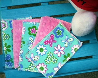 Kids Reusable Swipers - Flowers And Butterflies With Pink Dimple Minky Hanky (set of 5)