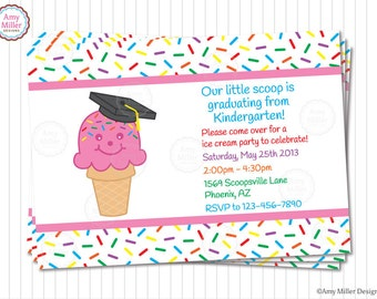Preschool or Kindergarten Graduation DIY printable custom invitation - Ice Cream Cone #PRN111