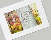Personalized Carved Heart Tree Card- FRAMABLE Photo Folded Card with Envelope- You Choose the Names- Unique Valentine's Card