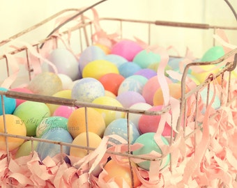 Basket of Easter eggs-Easter photography-Easter photo-holiday photo-colored eggs  (5 x 7 Original fine art photography prints) FREE Shipping
