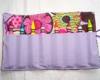 Bright flowers galore crayon roll up 8 count