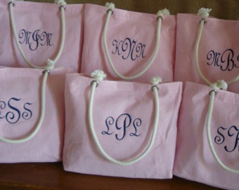 6 Pink Seersucker or Chevron Totes Bridesmaid Gift Sets **SALE**