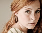 Wood Post Earrings, Fake Gauges, Tribal Style - Long Hoops- Dark Wood 1