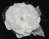 SALE Handmade Ivory Bridal Satin Flower with Swarovski Rhinestone, Crystals Pearls Center, Netting  Silver Leaves Beaded Applique