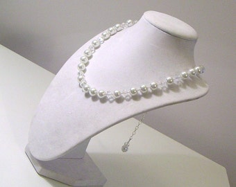 White Pearl and Crystal Choker Necklace - Special Occasions Collection - Bridal Collection