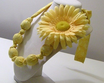 Yellow Calico Covered Beads Statement Necklace and Gerbera Daisy Pin - Fun with Fabric Collection