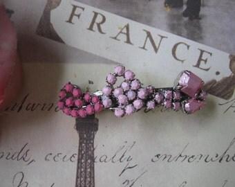 Ombre Pink.vintage rhinestone assemblage barrette clip