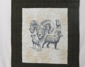 Sketched Big Horn Wallhanging,  Shades of Grey Threads