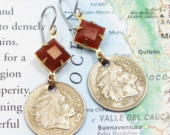 Colombia, Vintage Coin Earrings - - Warrior Chief Calarca - - Diez Centavos - 10 Cents - Recycled Jewelry