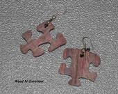 Earrings - Puzzle Pieces - Dangle Earrings - Brown Colors