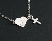 Cross necklace, initial necklace heart necklace, personalized initial heart cross jewelry, wedding gift, mother easter valentines christmas