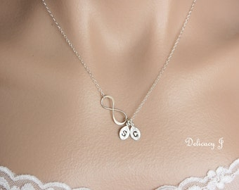 Personalized infinity necklace, initial necklace, TWO initials and infinity, Couple necklace, Friendship, Mother and child, Silver