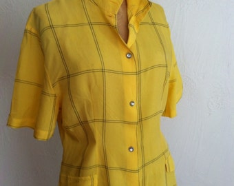 Bright Yellow with Black Large Scale Grid Vintage BENETTON Blouse M