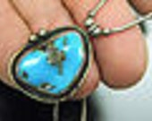 Handcrafted sterling SILVER MORENCI TURQUOISE bezel setting pendant w/chain