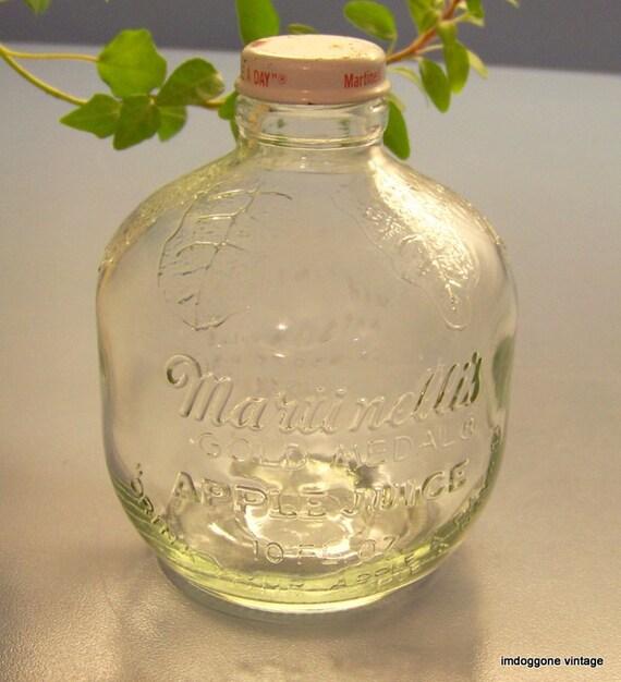Vintage Martinelli S Apple Juice Bottle Clear Glass By