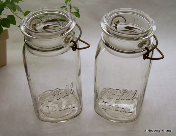 Vintage ball canning fruit jars ball jar pair with wire - Decorative fruit jars ...
