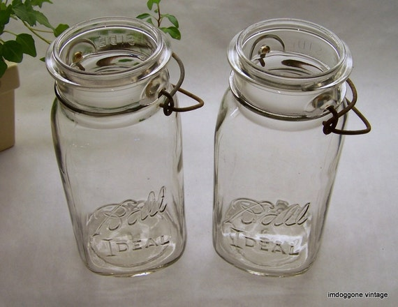 vintage ball canning fruit jars with wire bales by imdoggone
