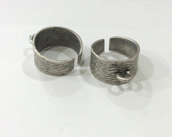 Antique Silver Plated Brass Adjustable Ring Base Blank with a Loop Setting ,Findings G290