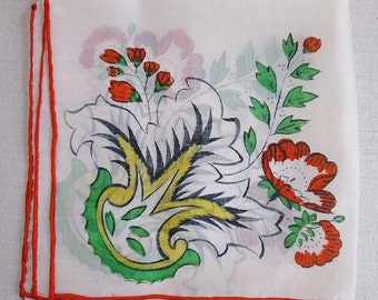 Vintage Hand Painted White Silk Handkerchief: Red, Green and Yellow Paisley and Floral Design, 11 Inch Square, Circa 1950s