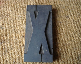"Vintage Huge 6 3/8"" Wood Type Print Printers Block Letter X Letterpress"