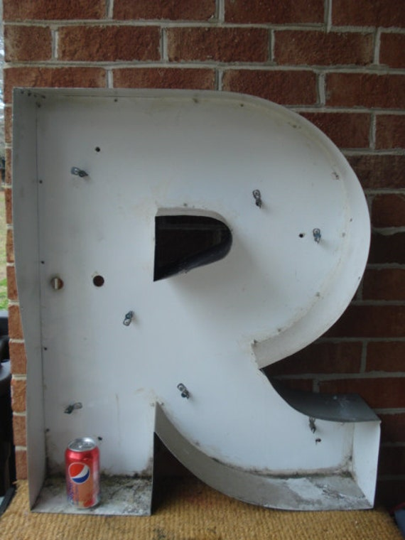 Vintage Huge Stylish Metal Sign Letter R. Huge Stylish Metal Sign Letter R