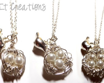 Sterling Silver Wire Wrapped Birds Nest Necklace