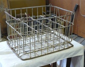 vintage metal milk crate with dividers