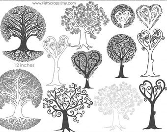 Whimsical Tree Clip Art, Tree of life Silhouette, Photoshop Brush + Digital Stamps, Family Tree Roots, Oak Tree ClipArt, Instant Download