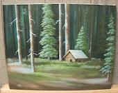 Deep Woods, Cabin, Trees, Forest, Dark, Sunlight, Landscape Oil Painting