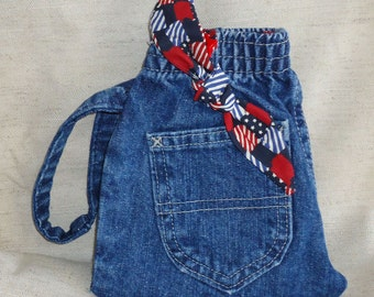 Handmade Recycled Denim Wristlet Pocket Purse Red White & Blue