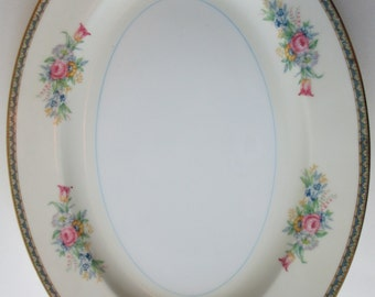 Vintage Pink Blue Floral Serving Platter - Cottage Chic