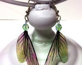 The Fae at Play, Iridescent Winged, Dangle Earrings