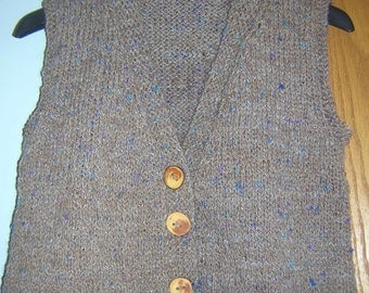 Hand Knitted Womens V neck Cropped Button Vest Waistcoat