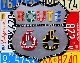 Route 66 Road Sign License Plate Artwork Handmade Original