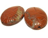 Two Red Jasper Scarab Beetle Beads - Perfect for Earrings - Vintage 1970s - Pair for Earrings - TMS