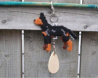Manchester Terrier standard hand stitched crate tag dog art hang anywhere, Magnet option