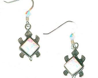 Lab opal sterling silver turtle white opal earrings medium