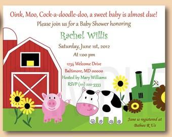 Barn Yard Friends, Baby Shower or Birthday Invitations, Farm Baby Shower