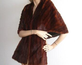 Vintage 50s Lux Brown Mink Fur Hollywood Starlet Wrap Stole Cape