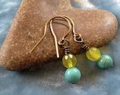 Magnesite & Lime Jade Earrings