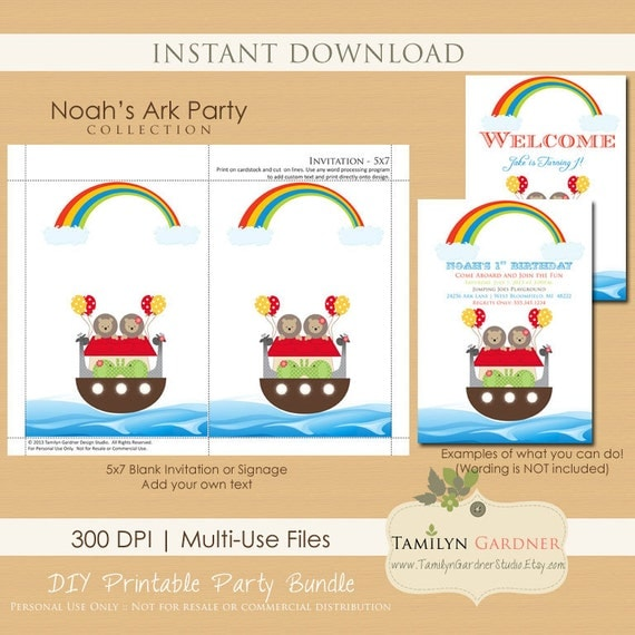 Printable Noahs Ark Invitation Noah's Ark Printables