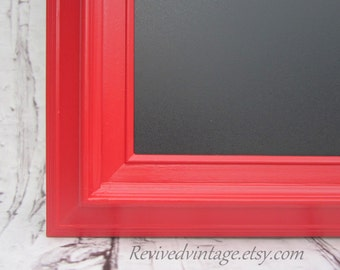 "LARGE KITCHEN CHALKBOARD Red Framed 41""x29"" Country Kitchen Decor Xtra LaRGE Wood Framed Magnetic Modern Home Decor Urban Framed Chalk board"