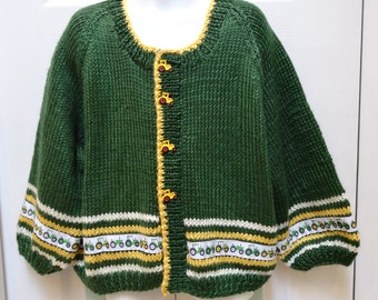KNITTED,  Boy's Sweater, Hand knitted, boutique style,  forest green, tractor truck motif gold and ivory trim, for an 6 to 8yr old